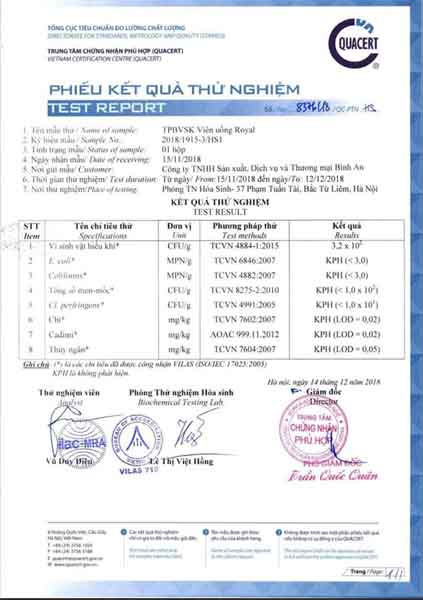 giấy kiểm định chất lượng sản phẩm