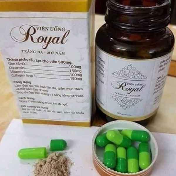 viên uống royal hình con nhộng màu xanh